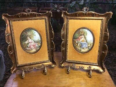 Antique French Pair of Rococo Miniature Portrait In Beautiful Frames