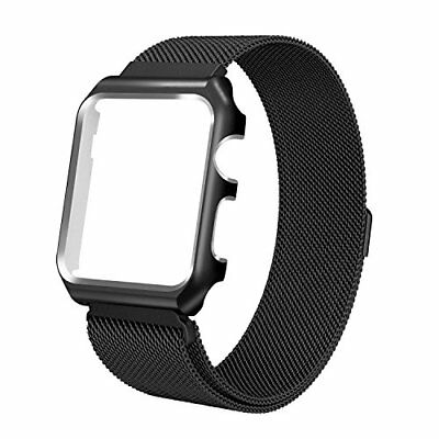 Milanese Loop Stainless Steel Band 42mm with Metal Case for Series 1/2/3 Black