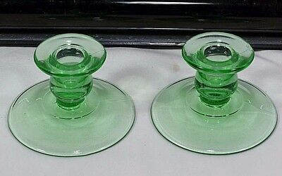 Antique Pair of Depression Uranium Glass Candlesticks - Elegant Green Glass