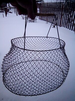 Vintage Soviet basket made of metal mesh for shopping.