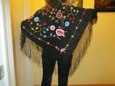 Vintage Piano Shawl  Black Silk Crepe Embroidery Rose Floral Fringe Wrap Scarf