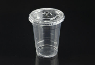 1000 x 16oz PET CLEAR PLASTIC CUPS WITH FLAT LIDS CAFE TAKEAWAY DISPOSABLE 500ml