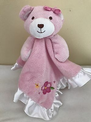 Babies R Us FAO Schwarz Teddy Bear Security Blanket Lovey Pink Flowers Ruffle