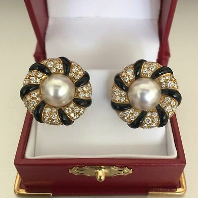 Vintage CHANEL Camellia Collection Diamond Pearl Earrings in 18k. Yellow Gold.