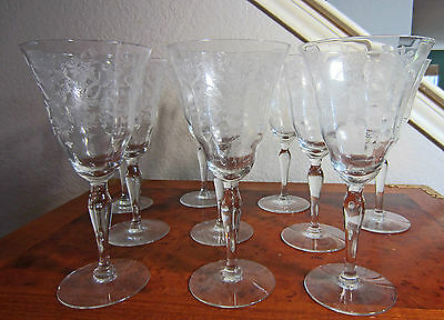 8pc Vtg,1941-57 Water,Iced Tea Etched Crystal Goblets,Lace Bouquet by Morgantown