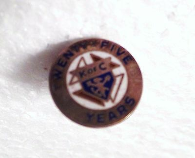 Antique Vintage Sterling Silver 25 Years Knights of Columbus K of C Tie Tack