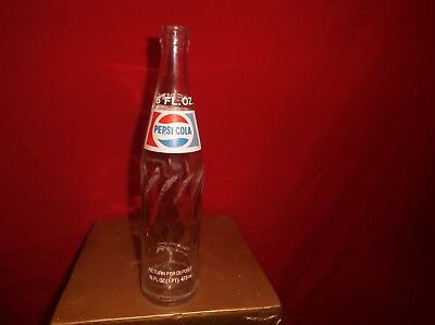 Old Vintage Collectible 16 Oz Ounce Glass Embossed Pepsi Cola Soda Pop Bottle