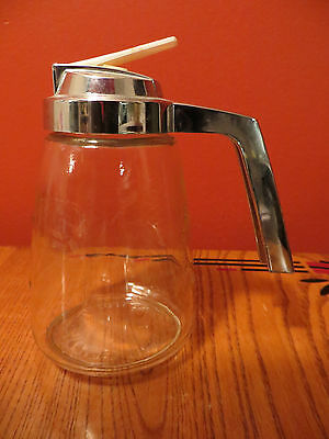 Vintage Federal  syrup dispenser or pitcher glass with silvered plastic top