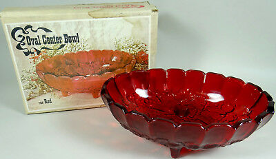 Vintage Indiana Glass Ruby Red Large Oval Center Serving Fruit Bowl No 7419 Box
