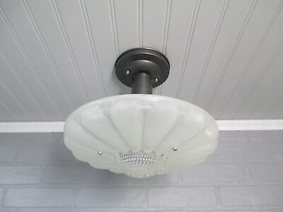 Vintage Antique Art Deco Semi Flush Mount Daisy Shade Ceiling Light Fixture
