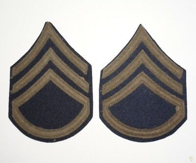 Staff Sergeant Chevrons WWII US Army Wool Pair Rank Patches P5862