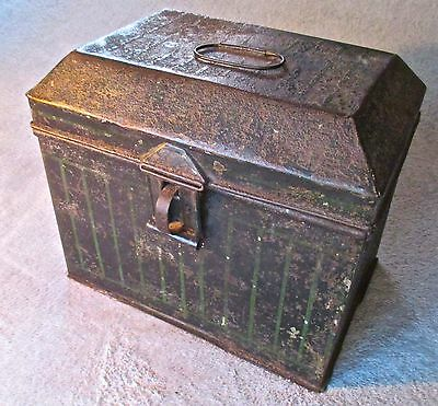 Antique 19th Century Original Paint Tin Box.  Hand Painted Pin Stripe Design.