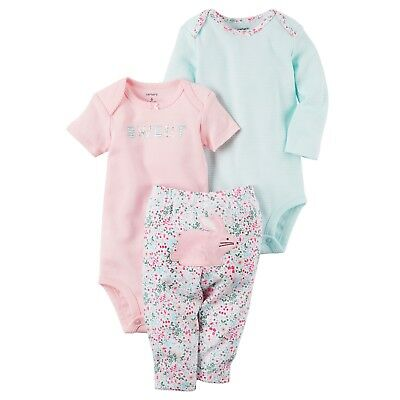 Carters 3pc Pink & Blue Bodysuit & Floral Bunny Pants Set Baby Girl Clothes NWT