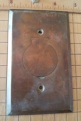 VINTAGE BRASS Electric Plug SWITCH Plate Wall Antique Hardware spX1 Outlet OLD