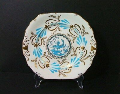 Vintage Royal Chelsea Turquoise Gold Bird  CAKE PLATE 3800A  (12 available)