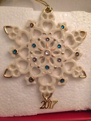 "Lenox  2017 Annual Gemmed Snowflake Ornament 4.25""  - New in Box"