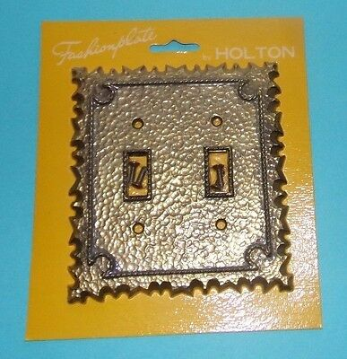 Vtg NOS Fashionplate Holton Double Toggle Switch Plate Cover Metal Brass Tone