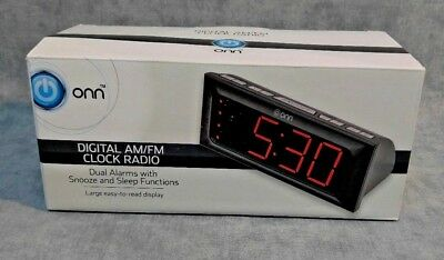 ONN digital AM/FM clock radio dual Alarm Snooze Sleep Function Large Display