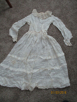1930s/40s Dress Silk Ivory  Ecru Lace May have been a Wedding Dress