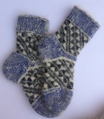 Knitted Sheep wool Kids socks Thick warm Blue Black White ( Age 4-5) Russia