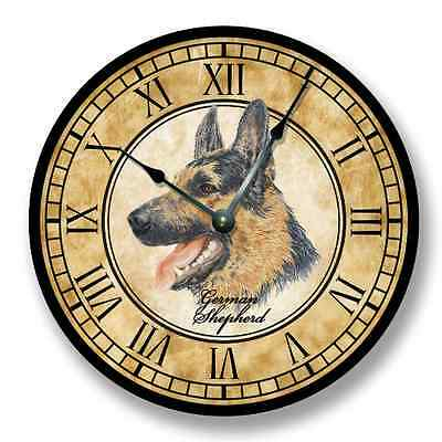 German Shepherd Wall CLOCK - Color Pencil Sketch - Old World Look - 7196_FT