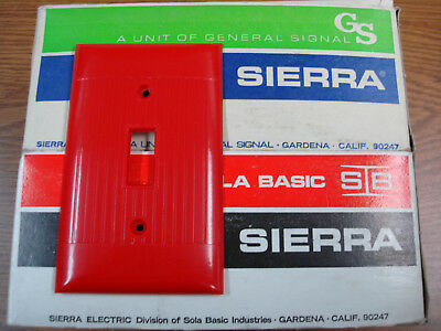 Vintage Uniline Red Switch Outlet Cover Plate Sierra Ribbed