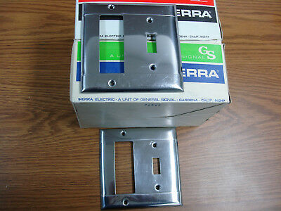 Sierraplex Vintage Chrome Switch Outlet Cover Plate 2 Gang Smooth