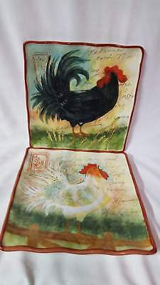 2 SUSAN WINGET Cert International Rooster Welcome Each New Day Dinner Plates