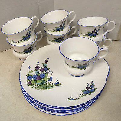 """Set of 7 Cups and Snack Hollyhock Plates 8.75"""" Crown Staffordshire GAINSBOROUGH"""