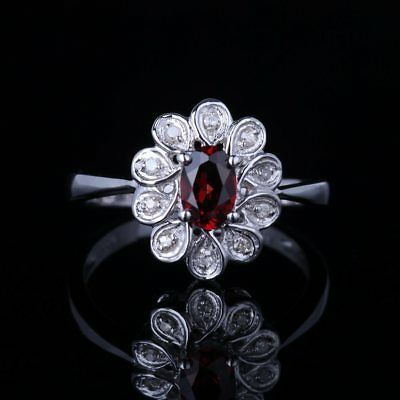 10K White Gold Oval 6X4mm Genuine Garnet Diamonds Wedding Flower Ring Size 6.5#