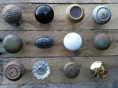 Antique Vintage Old Victorian Brass Porcelain Glass Door Knob Lot (12) Repurpose