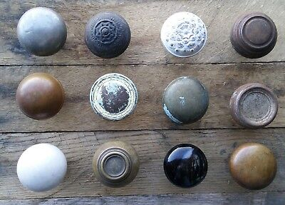 Antique Vintage Old Victorian Brass Porcelain Door Knob Lot 12 Knobs Repurpose