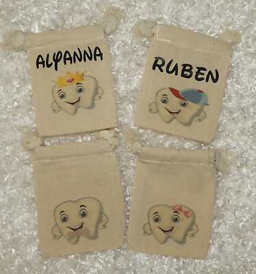 "Personalized (3""x4"") Childs Tooth Fairy Muslin Drawstring Bag Pouch"