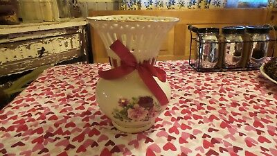 Vintage Formalities by Baum Bros Decorative Floral Vase Shabby Red & Pink Roses