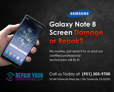 Samsung Galaxy Note 8 Cracked Broken Screen Glass Repair Replacement Service