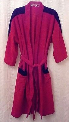 Vintage Pierre Cardin Robe Red Lustralour Black Trim