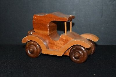 Wooden Hand Tooled Hand Crafted Old Fashioned Folk Art Toy Car