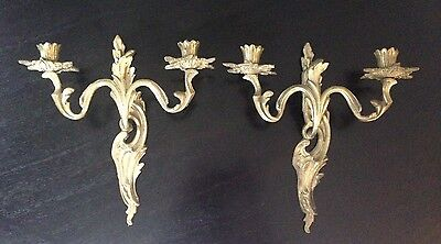 Antique Pair Of French Rococo 2 Candle Holder Brass Wall Sconces