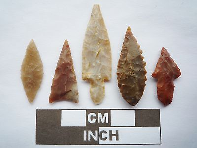 Neolithic Arrowheads x5, High Quality Selection of Styles - 4000BC - (Q090)