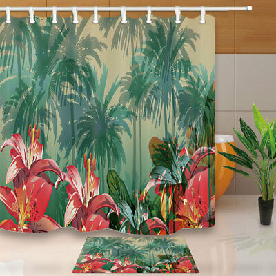 Coconut Tree And Red Flower Bathroom Shower Curtain Set Fabric & 12 Hook 71 Inch