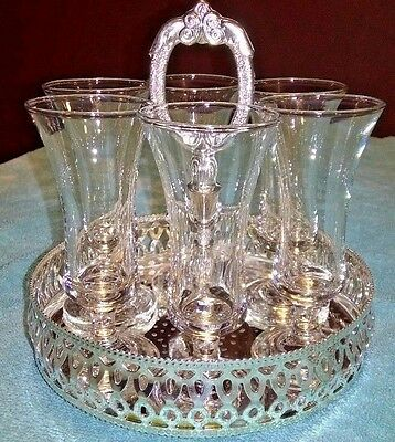 VintageGlass Drink/Cocktail Glasses in Beautiful Silver  Carrier