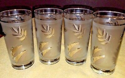 Set Of 4 Retro Libbey Frosted SILVER LEAF / Silver Foliage Beverage Glasses