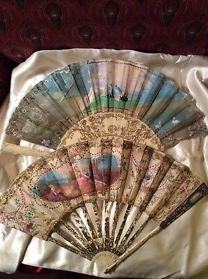 TWO antique 1800 French Fans  NeoClassical Best Quality AS IS