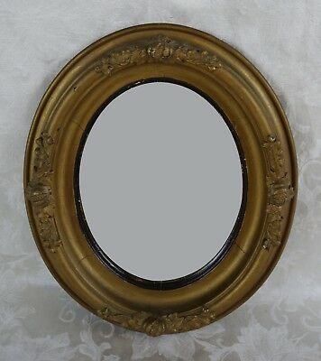 Antique 19th Century Gold Gilt Gesso Oval Mirror With Ornate Pumpkin Design