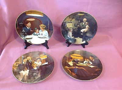 4 Rockwell Light Campaign Series Plates Father's Help Close Harmony Birthday  J
