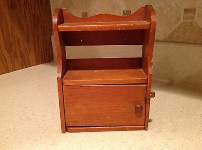 Vintage Handmade Wooden Hutch Top Doll Furniture Scalloped Top W/ Working Door