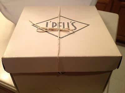 Ladies Vintage Hat Box L' Pell's W/ String Tie Sturdy Cardboard Box