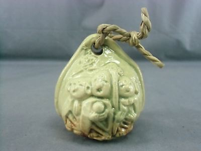 DR134 Japanese Ceramic Bell Clay Hand Made Six ksitigarbha Mizo Vtg Dorei Lucky