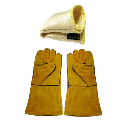 Blesiya Welder Welding Gloves and Tig Finger Heat Shield Set Fire Resistant