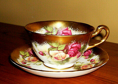 "Royal Chelsea England Bone China ""Golden Rose"" Teacup & Saucer Set"